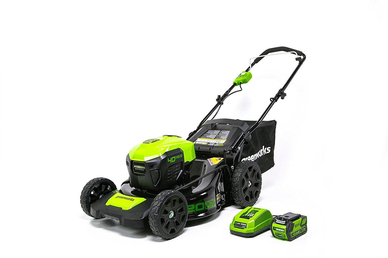 prime members greenworks g max 40v 20 cordless mower w. Black Bedroom Furniture Sets. Home Design Ideas