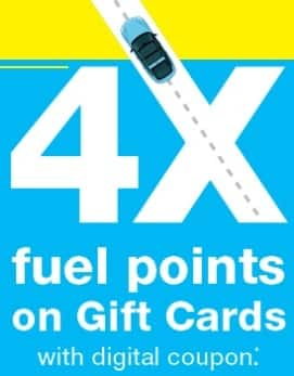 Kroger Digital Coupon: Earn 4x Fuel Points w/ Gift Cards
