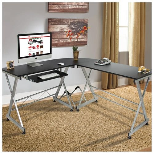 Best Choice Products L-Shape Wooden Corner Computer Workstation Desk (Black or White) $69.99 + Free Shipping