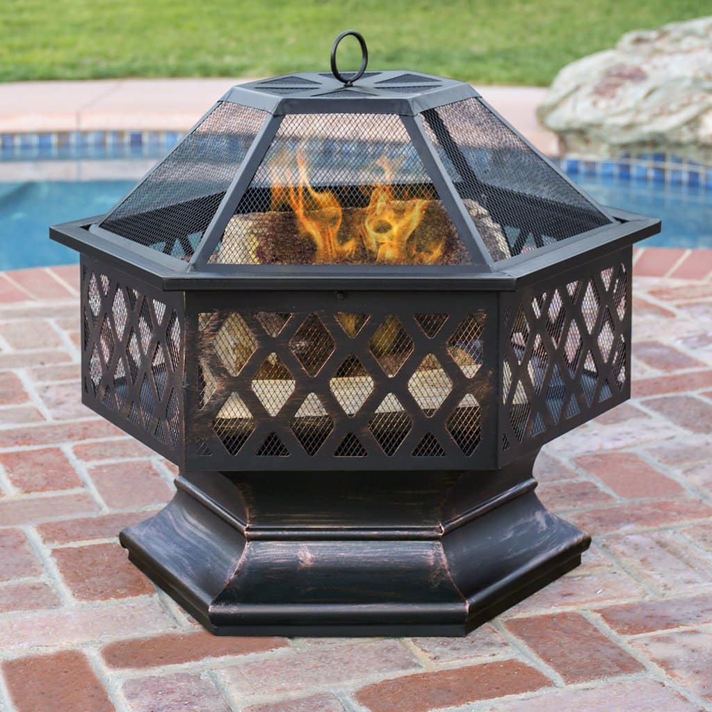 Steel Hex BCP Shaped Outdoor/Backyard Fire Pit w/ Distressed Bronze Finish $59.99 AC + Free Shipping