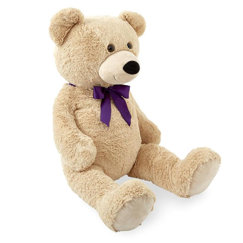 "Animal Alley 43"" Stuffed Teddy Bear w/ Purple Bow (Tan) $19.99 + Free Shipping on $29+ via Toys R Us *Great Kids Gift*"