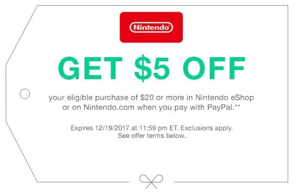 PayPal Offer: $5 Off Eligible Purchase of $20+ via Nintendo eShop or Nintendo.com w/ PayPal Checkout (YMMV)