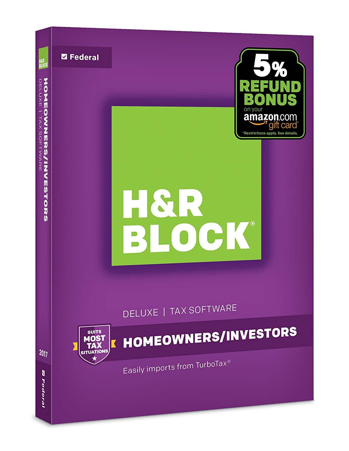 H&R Block 2017 Tax Software: 2017 Deluxe Software + State + Refund Bonus $19.99, 2017 Software Deluxe + Refund Bonus $13.99 & More via Amazon