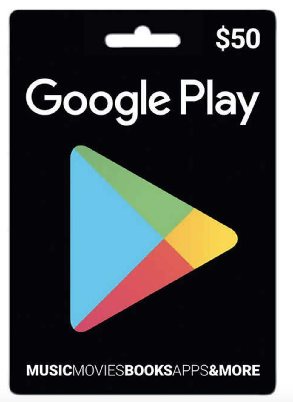50 Google Play Physical Gift Card For 44 Free Shipping
