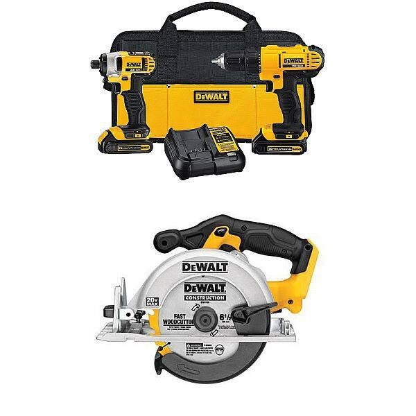 DeWALT 20V 1.3Ah Lithium Drill Driver/Impact Combo Kit + DeWALT 20V MAX Circular Saw $199 + Free Shipping via Amazon