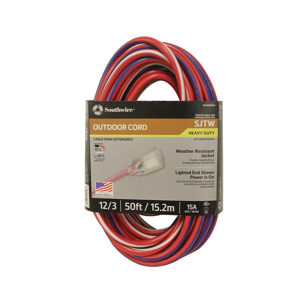 50 Southwire 12 3 Sjtw Outdoor Extension Cord W Power Light Plug Wiring A Deal Image