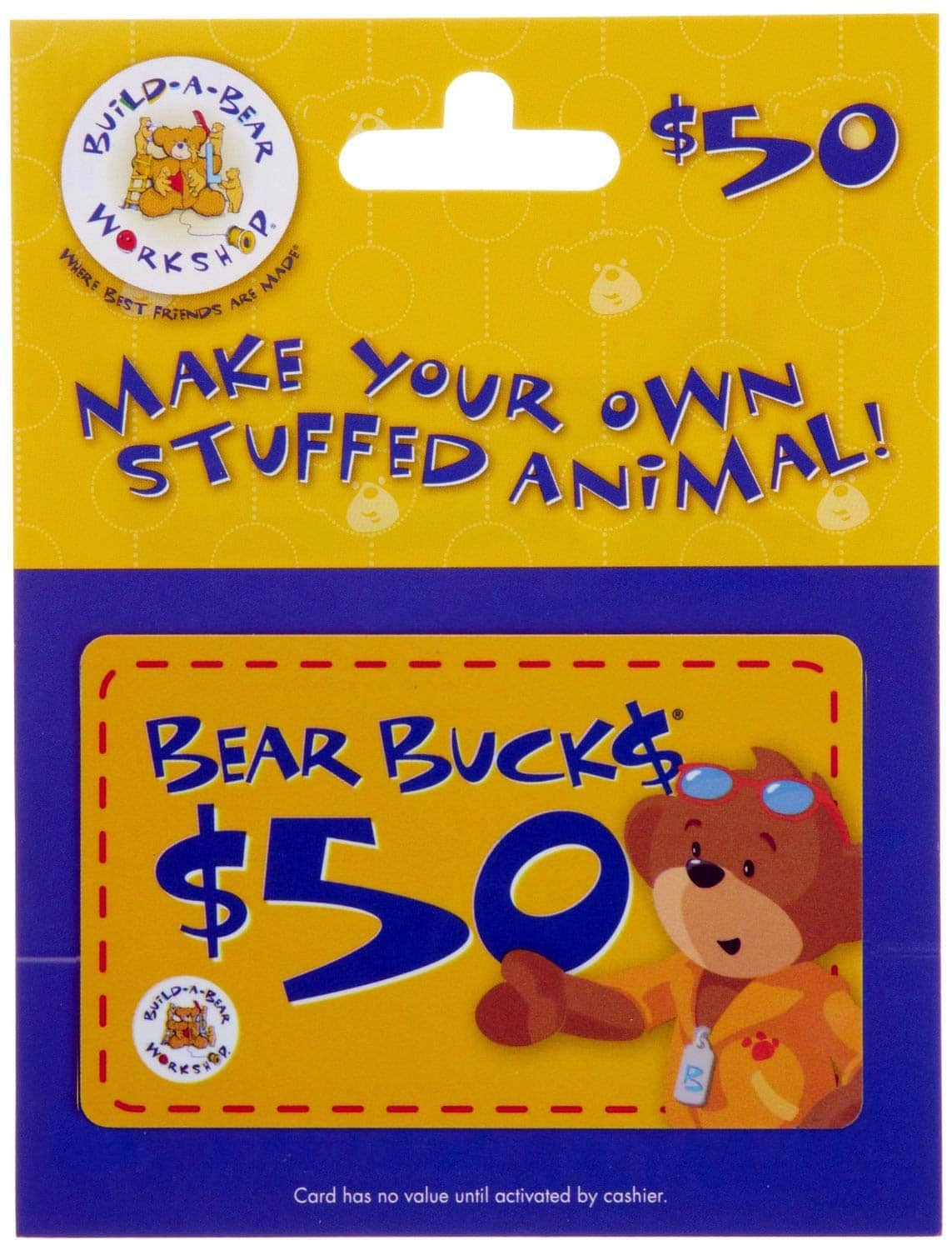 $50 Build-A-Bear Workshop Gift Card for $39.50 + Free Shipping via Amazon *Lightning Deal*