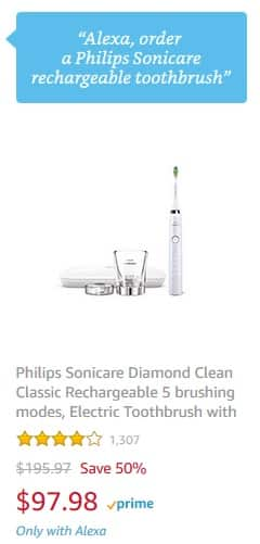 Prime Members w/ Alexa: Philips Sonicare Diamond Clean Classic Rechargeable Toothbrush (HX9331/43) $97.98 + Free Shipping