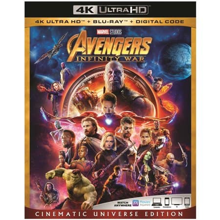 Avengers: Infinity War: Cinematic Universe Edition (4K Ultra HD + Blu-ray + Digital Code) $24.96 + Free 2-Day Shipping via Walmart
