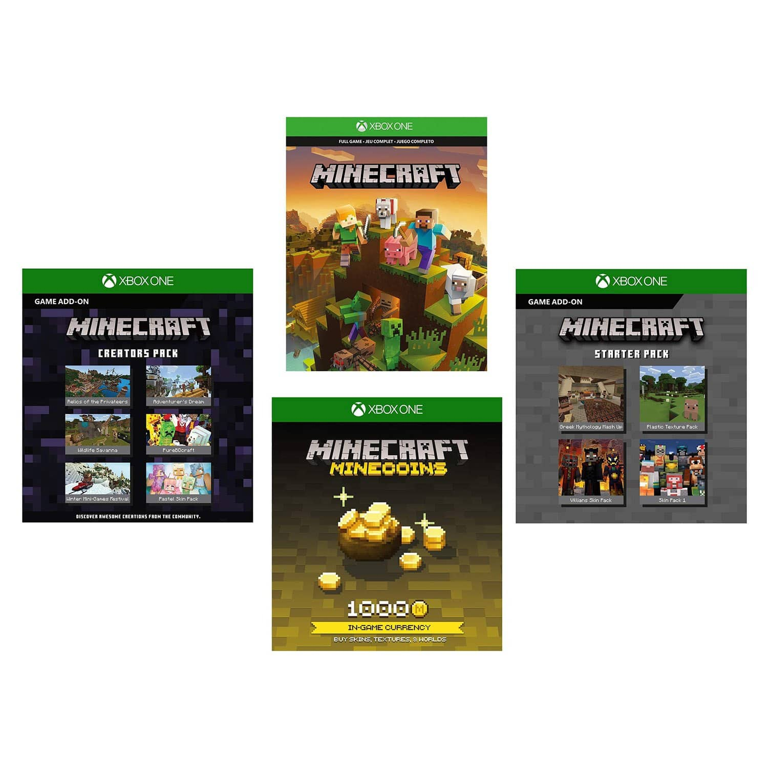 Minecraft + 1K Minecoins + Starter & Creators Pack Add-On (Xbox One