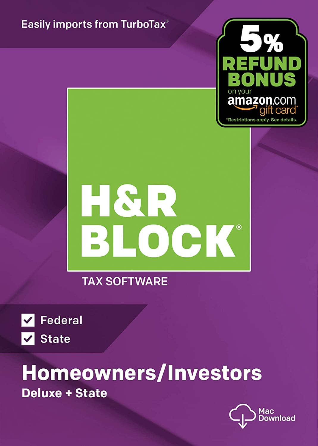 H&R Block 2018 Tax Software: Deluxe + State + 5% Refund (Mac