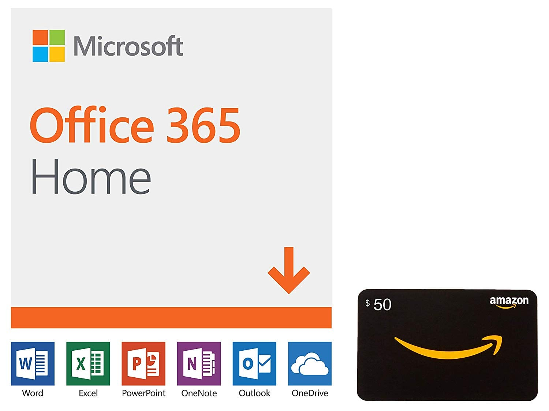 12-Month Microsoft Office 365 Home (PC/Mac Digital) + $50 Amazon GC