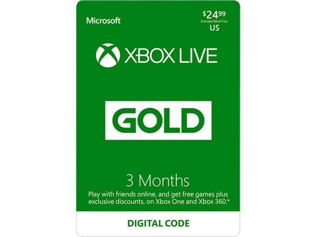 3-Month Xbox Live Gold Membership (Digital Code) + 3-Month Extra Xbox Live Gold for $20.99 AC via Newegg