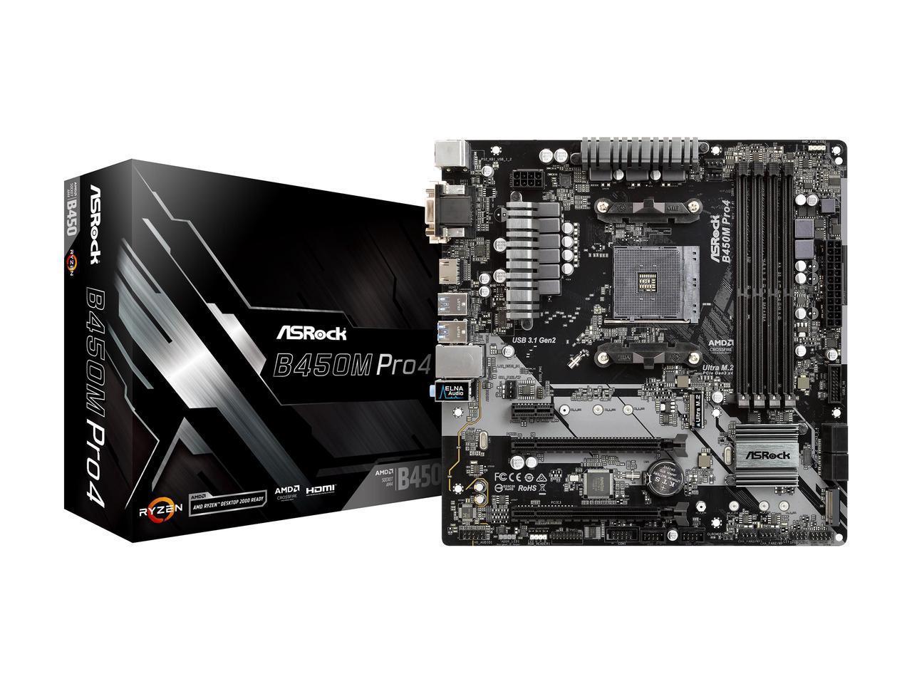 ASRock B450M PRO4 Promontory AMD Micro ATX Motherboard $59.99 AR + Free Shipping via Newegg