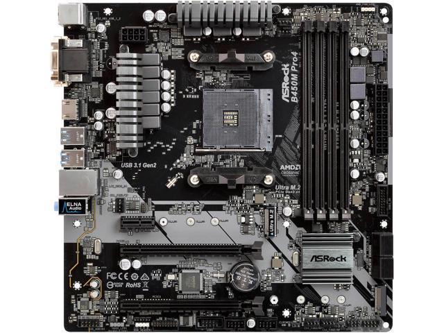 ASRock B450M PRO4 AMD AM4 Micro ATX Motherboard $59.99 AR + Free Shipping via Newegg