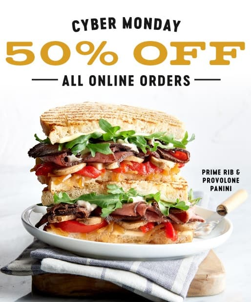 Corner Bakery Cafe Cyber Monday Coupon: 50% Off All Online Food Orders (Valid 12/2 Only)