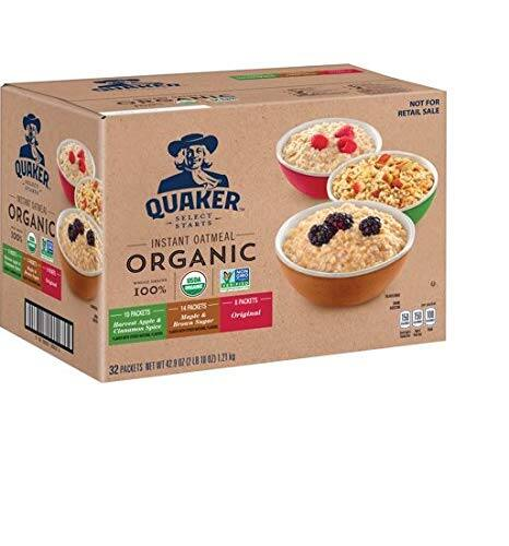 32-Count Quaker Organic Instant Oatmeal (3-Flavor Variety Pack) $8.54 w/ S&S + Free Shipping via Amazon