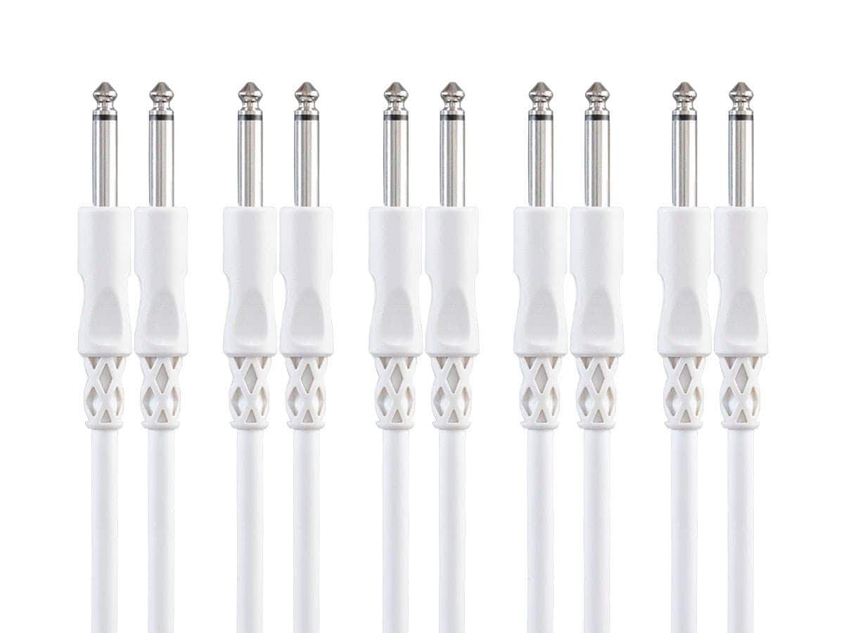 """5-Pack 3' Monoprice Select Series 24AWG 1/4"""" TS Male Straight Connector Instrument/Guitar Cable (White or Green) $6 + Free Shipping via Monoprice"""