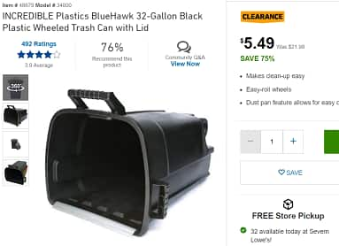 YMMV INCREDIBLE Plastics BlueHawk 32-Gallon Black Plastic Wheeled Trash Can with Lid Lowes YMMV $5.49