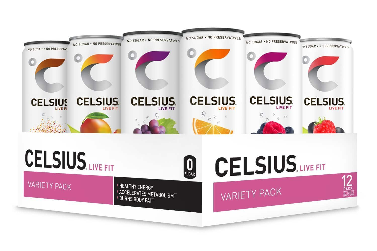 CELSIUS Fitness Drinks (Various Flavors), Zero Sugar, 12oz. Slim Can (Pack of 12) for $16.80 (15% off first S&S order)