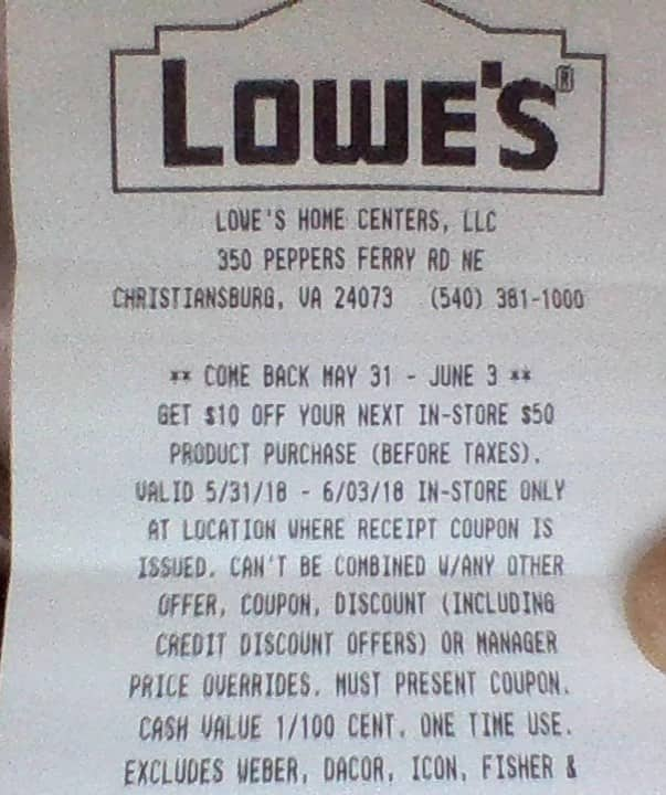Lowes 10 off 50 with in-store purchase - Slickdeals net