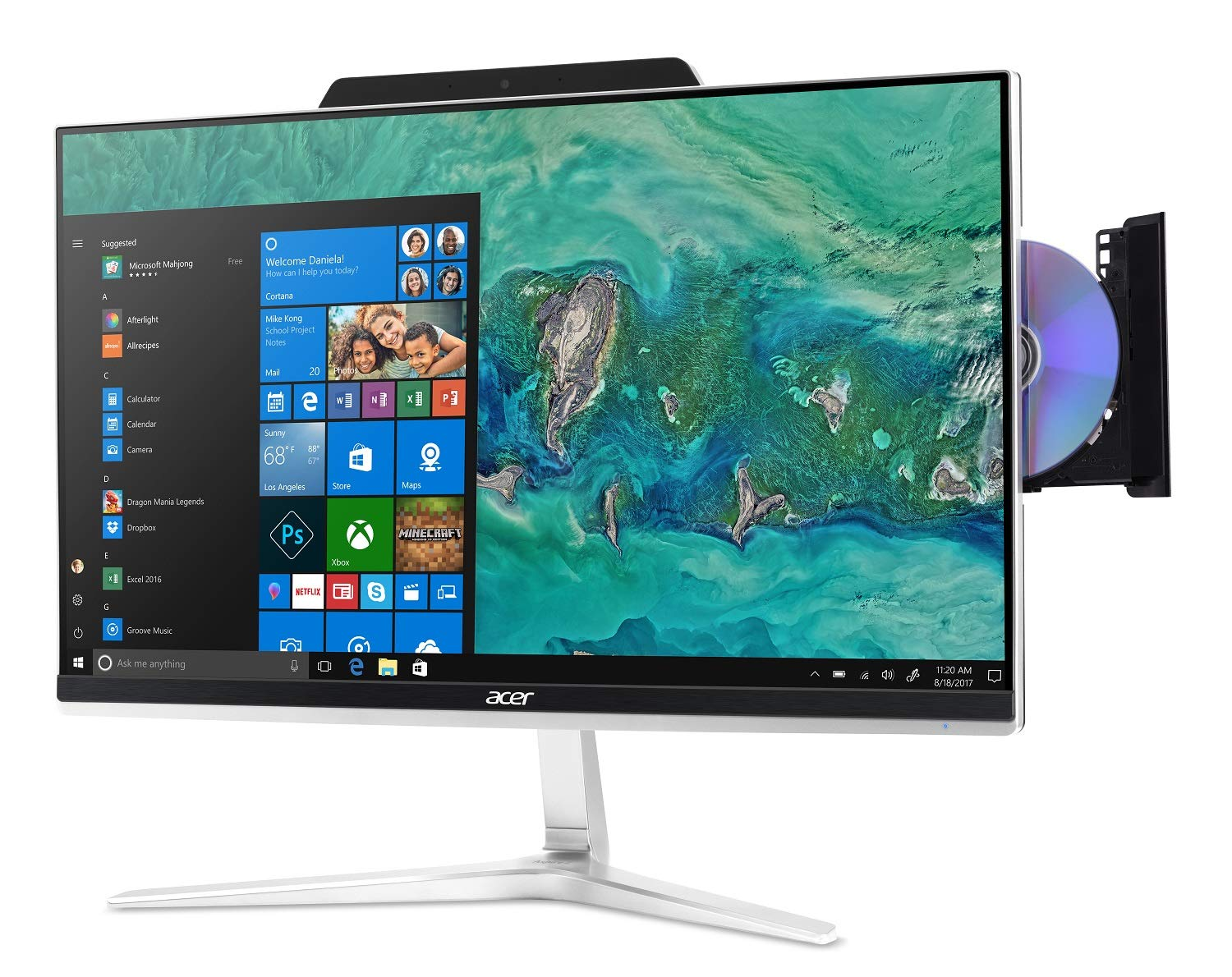 "Acer Aspire Z24-890-UR11 AIO Touch Desktop, 23.8"" Full HD Touch, Intel Core i5-8400T, 8GB DDR4 + 16GB Optane Memory, 1TB HDD, Windows 10 Home [Intel Core i5-8400T] $637"