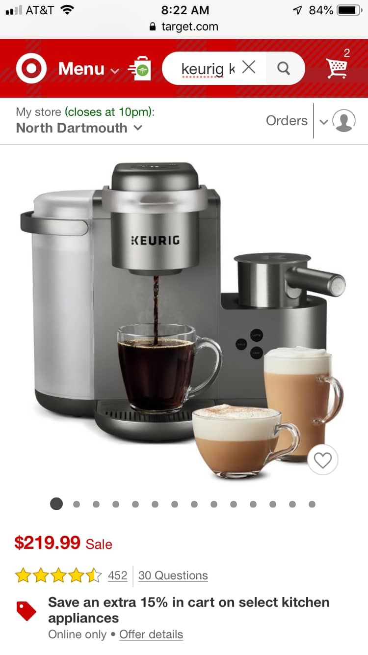 Keurig k-cafe' special edition coffee latte cappuccino maker Target $115.81