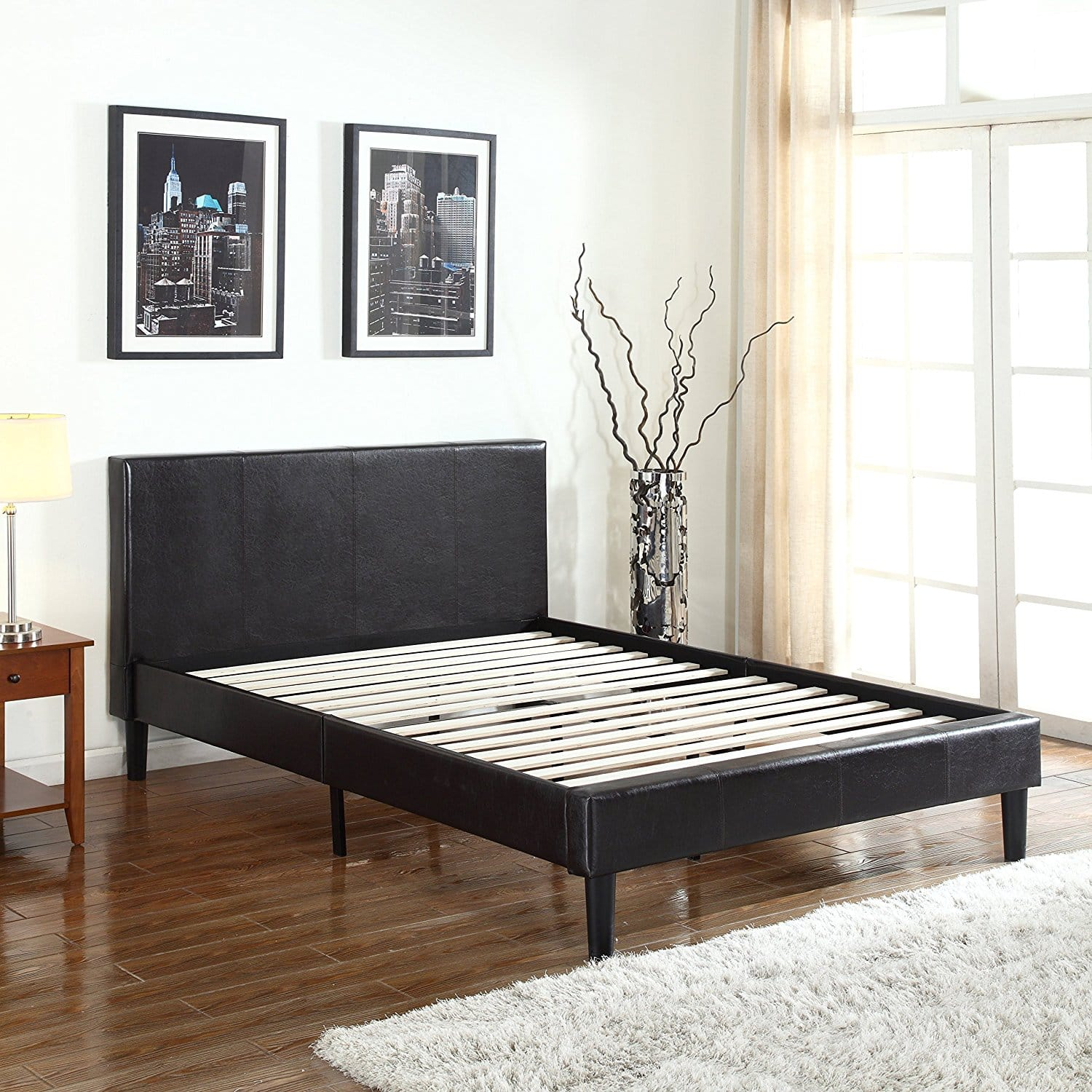 Stunning Divano Roma Furniture Deluxe Bonded Leather Platform Bed with Wooden Slats Queen Free Shipping Tax Slickdeals net