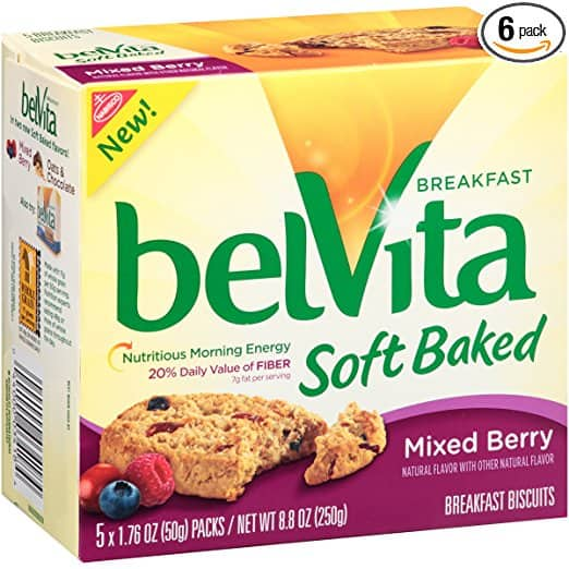 belVita Soft Baked Breakfast Biscuits, Mixed Berry, 5 Count Box, 8.8 Ounce (Pack of 6) $16.09