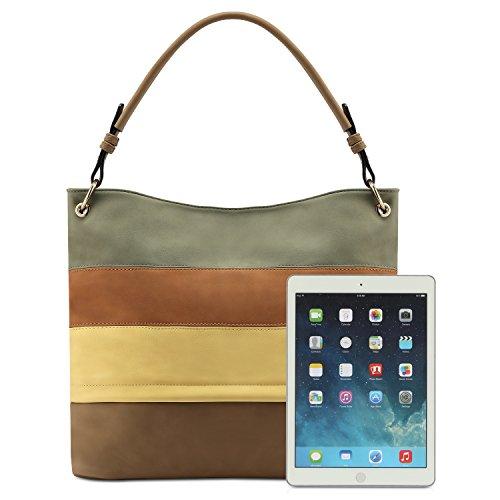 a474089b3 Plambag Multi Color Stripped Handbag, Faux Leather Hobo Shoulder Tote Bag  $24.99
