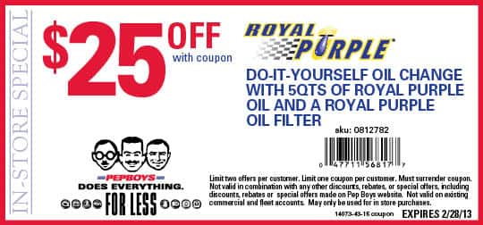 $25 OFF ROYAL PURPLE DIY OIL CHANGE WITH ROYAL PURPLE OIL FILTER at Pepboys