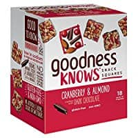 18-Count goodnessknows Snack Squares, Cranberry, Almond, Dark Chocolate $9.91 or $11.43 w/ S&S + Free S/H