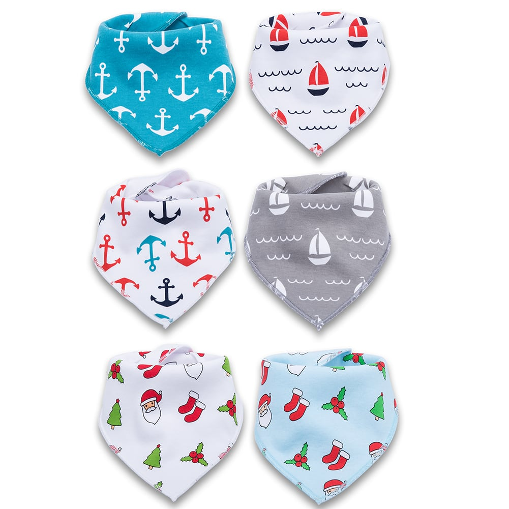 Corewill Baby Bandana Drool Bibs for Boys and Girls Adjustable 100% Organic Cotton Soft and Absorbent Fashion Shower Gift Set for Christmas 6 Pack [Christmas] $9.99
