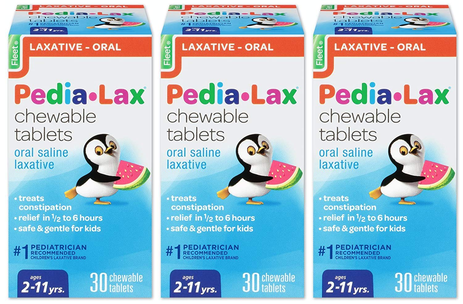 Pedia-Lax Oral Saline Laxative, 30 Chewable Tablets, Pack of 3 - $11.15 plus tax with S&S Amazon