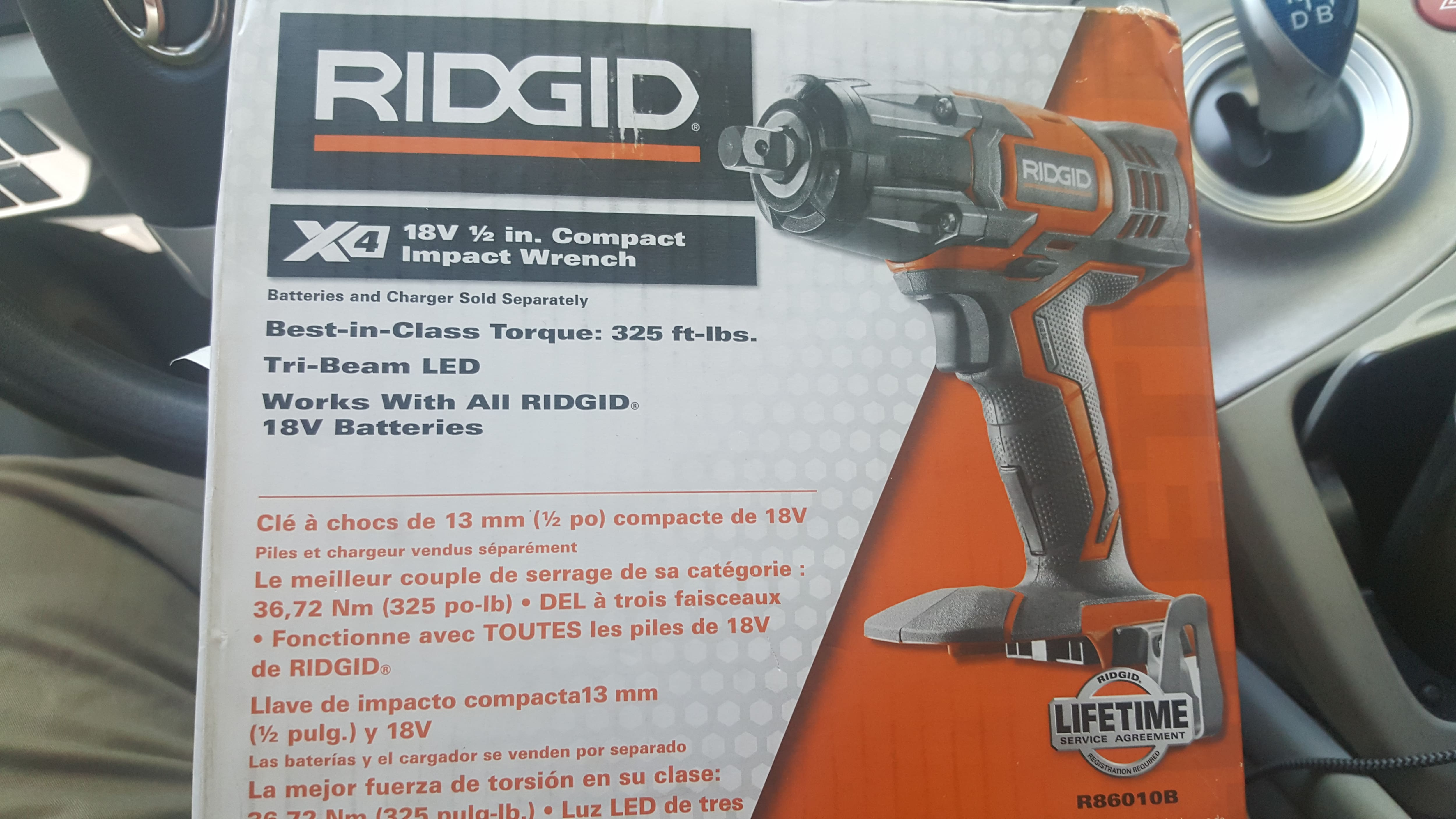 Ridgid 18v 1/2 inch Compact Impact Wrench at Home Depot $70 B&M YMMV