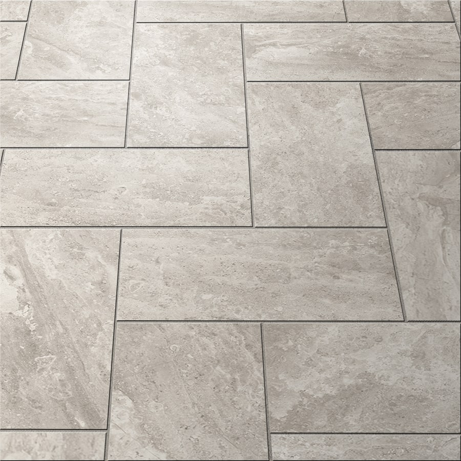 Lowes - Style Selections Trailden Gray Ceramic Travertine Floor and ...