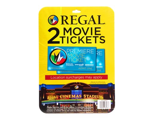 6 Regal Premiere tickets $37.57 or $28.93 (with filler, new customer) with AMEX offer at Boxed