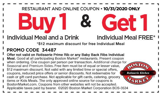 Boston Market BOGO Meal 10/31/20 only