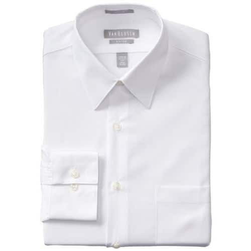 811c8b0ea1966 Van Heusen Men s Poplin Fitted Solid Point Collar Dress Shirt     10.49