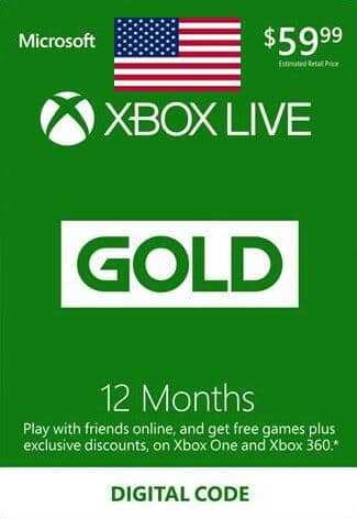 12-Month Xbox Live Gold Membership (Digital Delivery) for $42.49