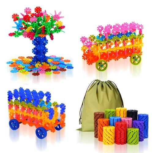 QuadPro Brain Flakes 570 Piece with 4 Set Wheels Plastic Discs Snowflake Building Blocks Set for $13.85