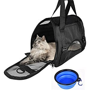 Pet Portable Under Seat Travel Soft Sided Bag + a collapsible bowl for Small Dog Cat for $17