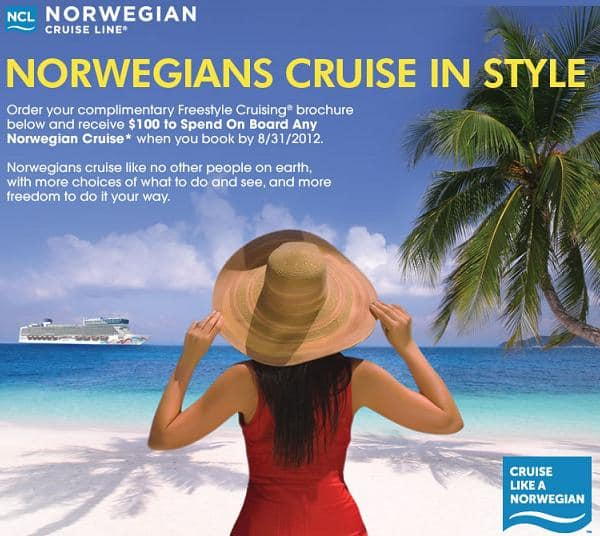 Norwegian Cruise Line (NCL) $100 Onboard Credit **FREE**