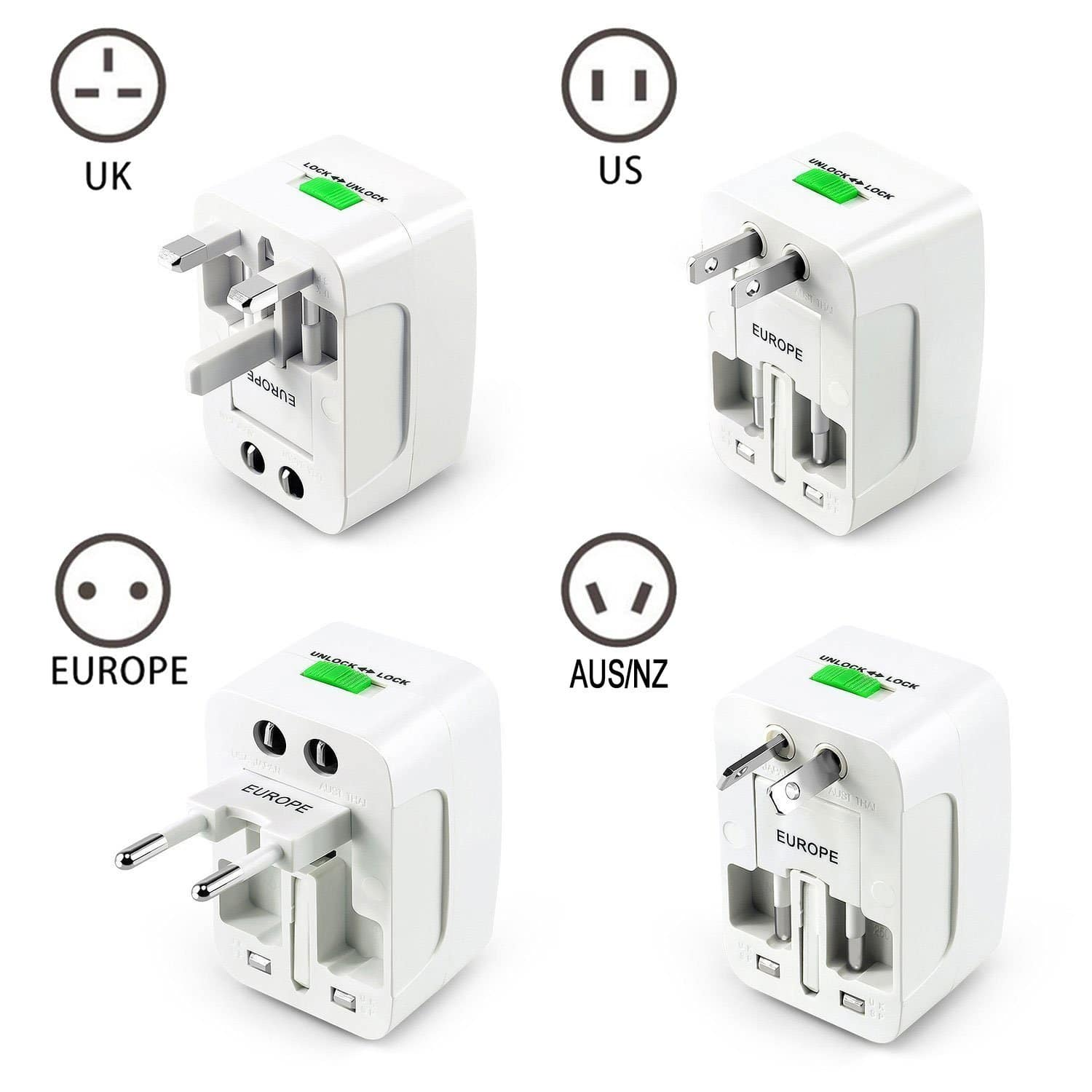 All in One Universal Travel Adapter with 2 USB Charging Ports for $6.99