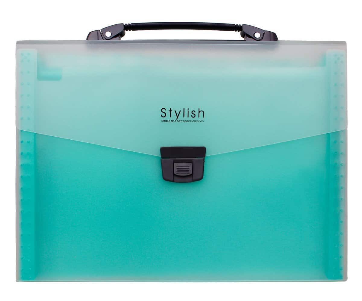 Shuter 13-Pockets A4 Expanding Accordion File Folder (Green/Blue) for $9.37