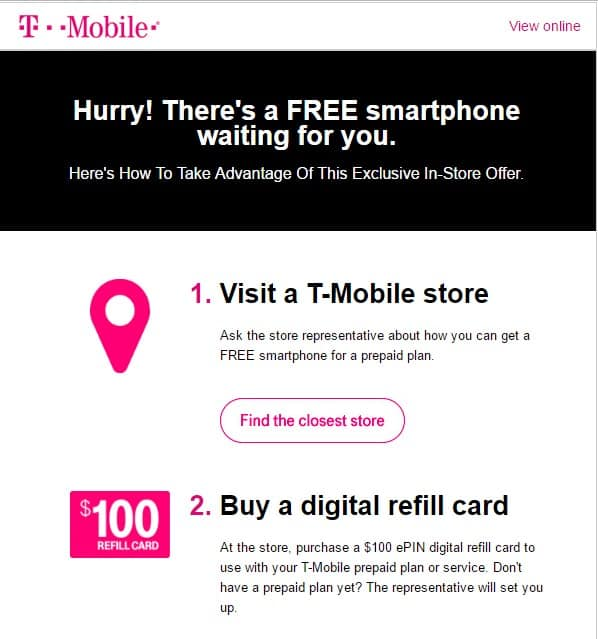FREE T-MOBILE PHONE w/ $100 ePIN digital refill Purchase (In