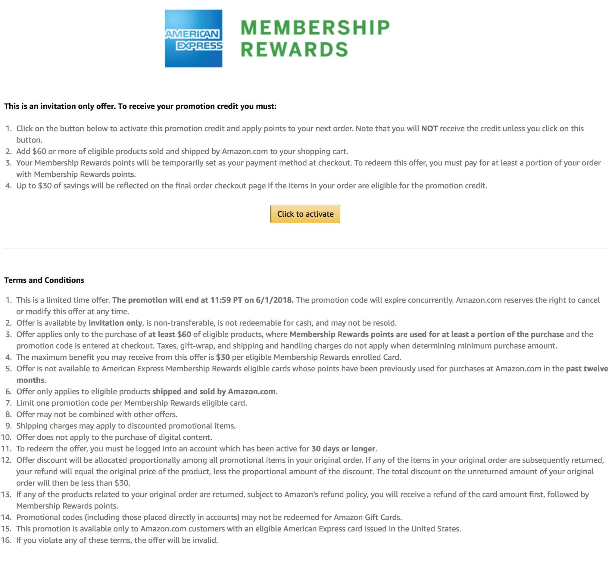 AMEX Membership Rewards: $30 off purchase of $60 or more on eligible products sold and shipped by Amazon.com