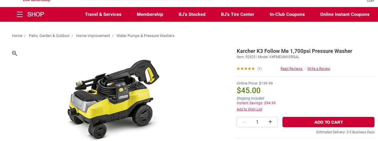 price mistake? BJ's wholesale club Karcher K3 Follow Me 1,700psi Pressure Washer $45