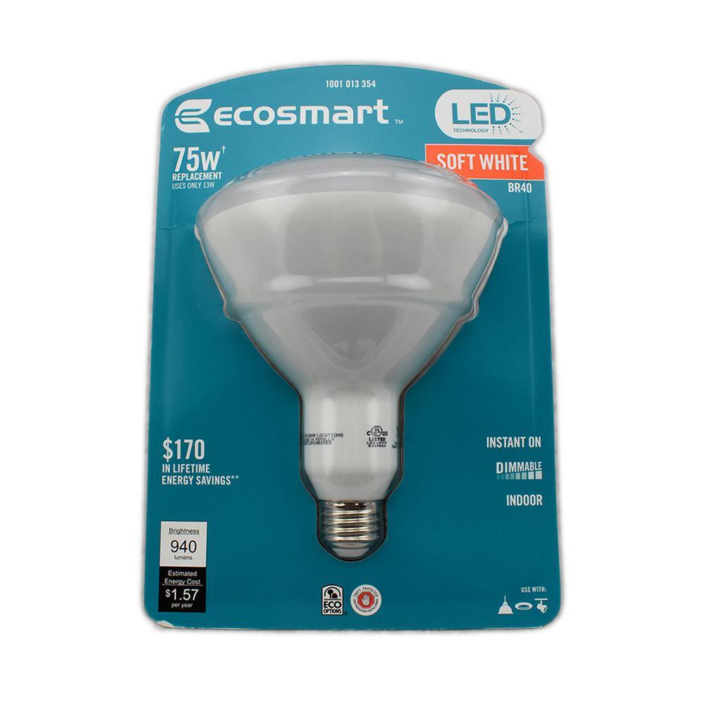 EcoSmart 75W Equivalent Soft White BR40 LED Light Bulb (4-Pack) - $10.95