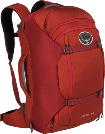 Osprey Porter 30 Travel Backpack, Hoodoo Red, $63; Black $73; Free shipping + Tax